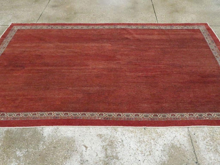 Early 20th Century Handmade Persian Rust Red Open Field Accent Rug For Sale 1
