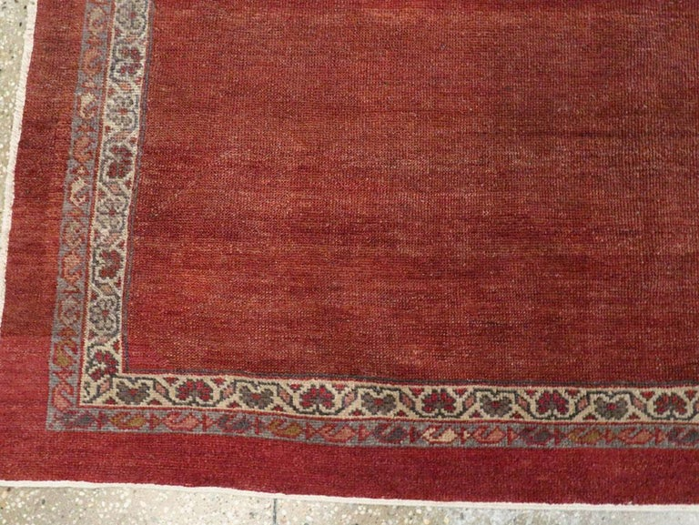 Early 20th Century Handmade Persian Rust Red Open Field Accent Rug For Sale 2