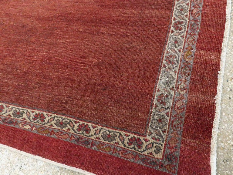 Early 20th Century Handmade Persian Rust Red Open Field Accent Rug For Sale 3