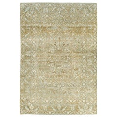 Early 20th Century Handmade Persian Accent Rug in Beige and Soft Greens