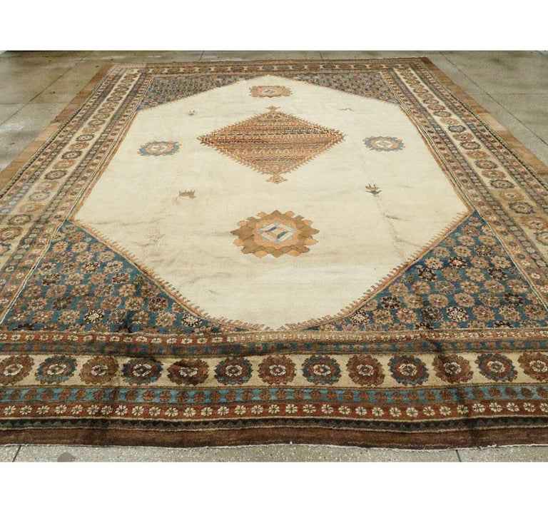 Hand-Knotted Early 20th Century Handmade Persian Bakshaish Large Room Size Carpet For Sale