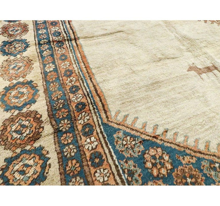 Wool Early 20th Century Handmade Persian Bakshaish Large Room Size Carpet For Sale