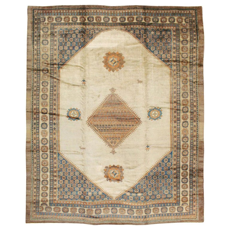 Early 20th Century Handmade Persian Bakshaish Large Room Size Carpet For Sale