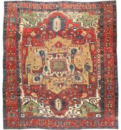 Early 20th Century Handmade Persian Heriz Square Room Size Carpet