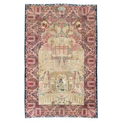 Early 20th Century Handmade Persian Lavar Kerman Pictorial Accent Rug