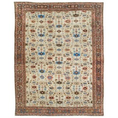Early 20th Century Handmade Persian Mahal Large Room Size Carpet