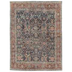 Early 20th Century Handmade Persian Mahal Room Size Carpet in Blue and Red