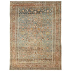 Early 20th Century Handmade Persian Mahal Room Size Carpet in Rust and Seafoam