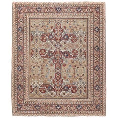 Early 20th Century Handmade Persian Mahal Rustic Accent Rug