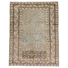 Early 20th Century Handmade Persian Malayer Accent Rug in Blue-Green and Grey