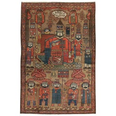 Early 20th Century Handmade Persian Malayer King Solomon Pictorial Accent Rug