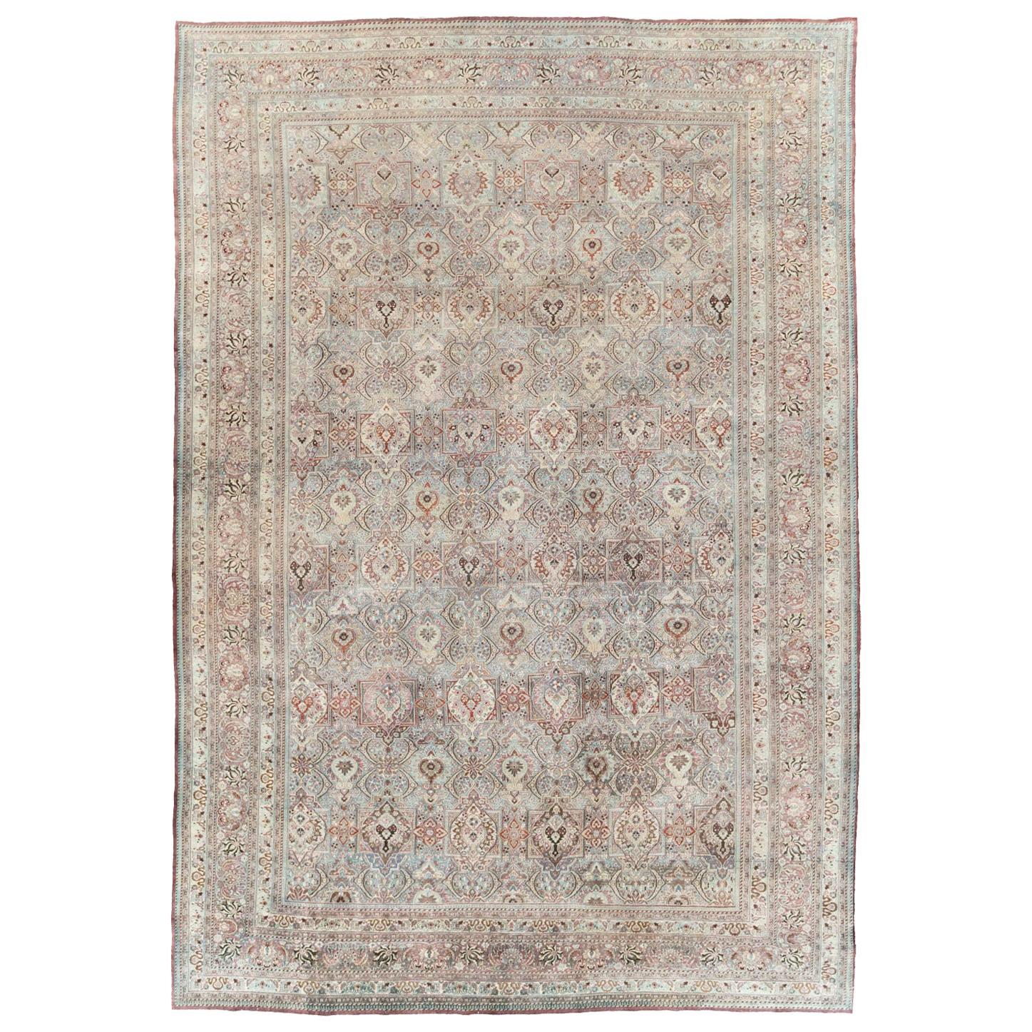 Early 20th Century Handmade Persian Mashad Large Room Size Carpet
