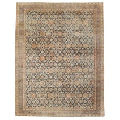 Early 20th Century Handmade Persian Room Size Carpet In Charcoal and Rust