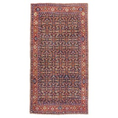 Early 20th Century Handmade Persian Rustic Gallery Accent Rug in Red and Blue