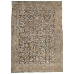 Early 20th Century Handmade Persian Rustic Tabriz Small Room Size Carpet