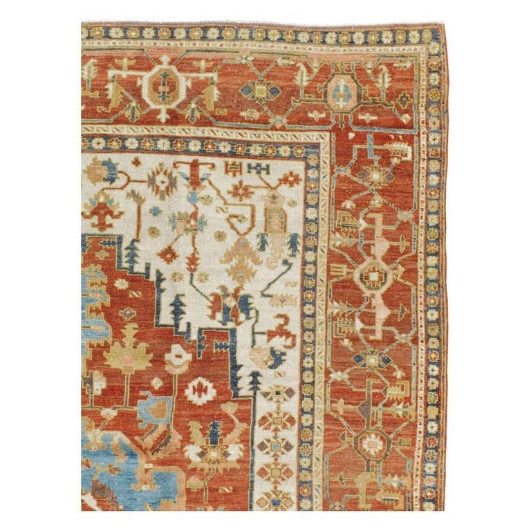 Colonial Revival Early 20th Century Handmade Persian Serapi Large Room Size Carpet For Sale