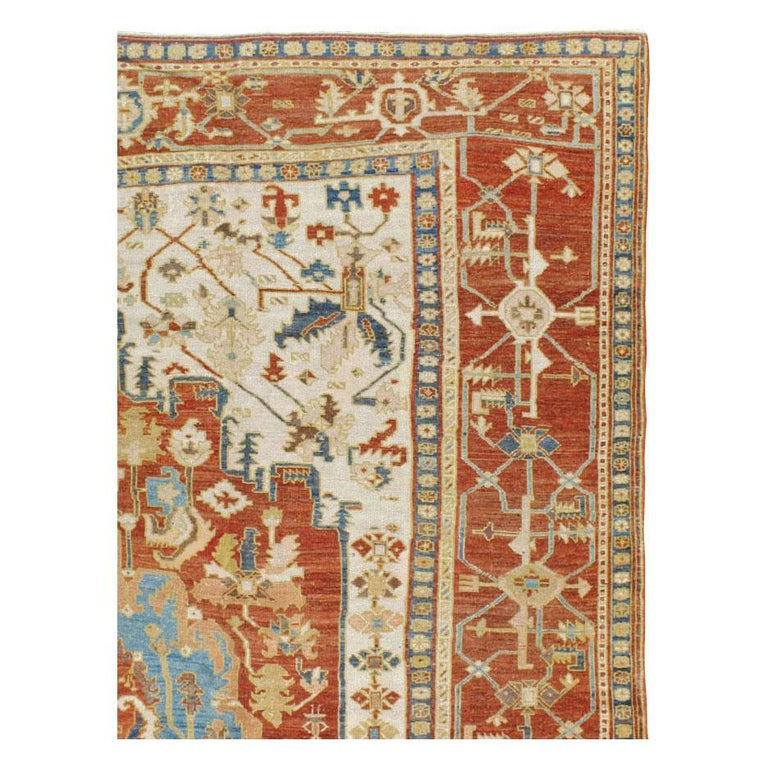 Hand-Knotted Early 20th Century Handmade Persian Serapi Large Room Size Carpet For Sale
