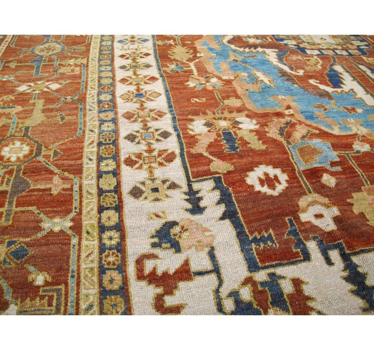 Wool Early 20th Century Handmade Persian Serapi Large Room Size Carpet For Sale
