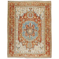 Early 20th Century Handmade Persian Serapi Large Room Size Carpet