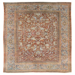 Early 20th Century Handmade Persian Sultanabad Large Square Room Size Carpet