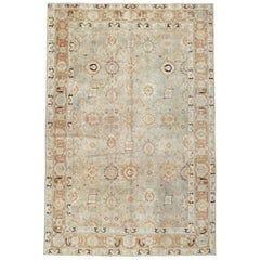 Early 20th Century Handmade Persian Tabriz 7' x 10' Accent Rug in Slate Grey
