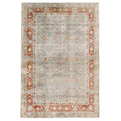 Early 20th Century Handmade Persian Tabriz Accent Rug in Slate-Blue and Red