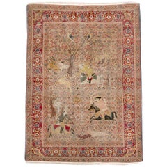 Early 20th Century Handmade Persian Tabriz Hunting Scene Pictorial Accent Rug