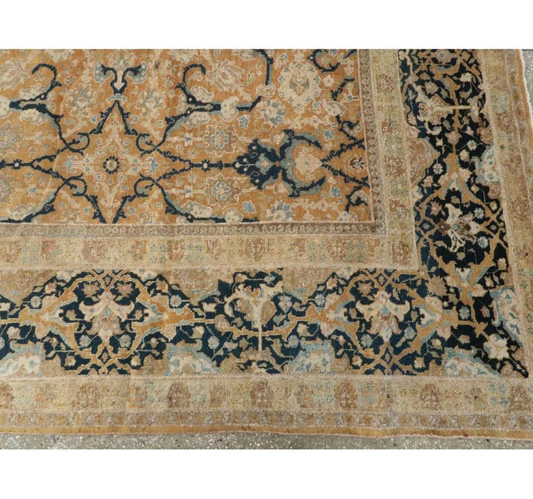 Early 20th Century Handmade Persian Tabriz Large Room Size Carpet For Sale 3