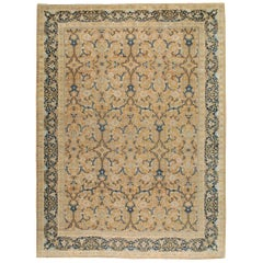 Early 20th Century Handmade Persian Tabriz Large Room Size Carpet