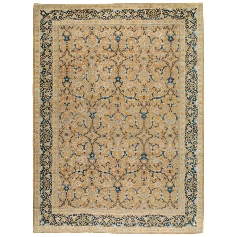 Early 20th Century Handmade Persian Tabriz Large Room Size Carpet For Sale