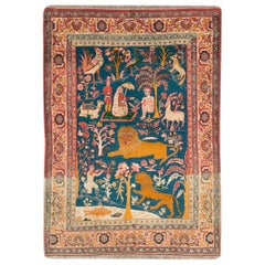 Early 20th Century Handmade Persian Tabriz Pictorial Accent Rug, circa 1920