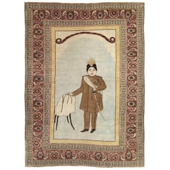 Early 20th Century Handmade Persian Tabriz Pictorial Accent Rug