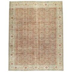 Early 20th Century Handmade Persian Tabriz Room Size Carpet