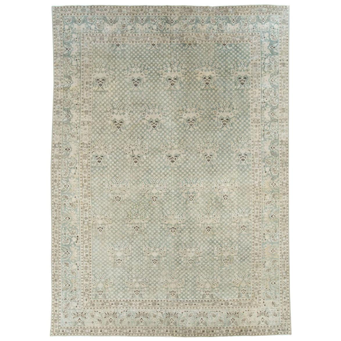 Early 20th Century Handmade Persian Tabriz Room Size Carpet in Blues and Greens