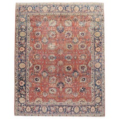 Early 20th Century Handmade Persian Tabriz Room Size Carpet in Red & Blue