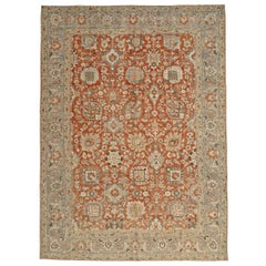 Early 20th Century Handmade Persian Tabriz Room Size Carpet in Rust and Grey