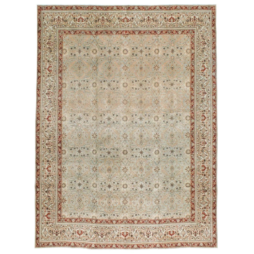 Early 20th Century Handmade Persian Tabriz Small Room Size Carpet