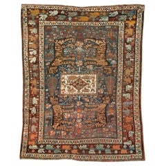 Early 20th Century Handmade Persian Tribal Pictorial Shiraz Accent Rug