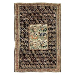 Early 20th Century Handmade Persian Tribal Pictorial Story Accent Rug