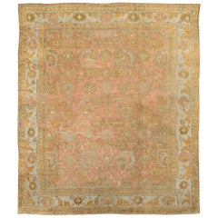 Early 20th Century Handmade Turkish Oushak Large Square Room Size Carpet