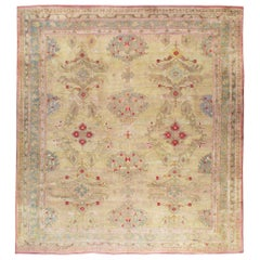 Early 20th Century Handmade Turkish Oushak Square Room Size Carpet