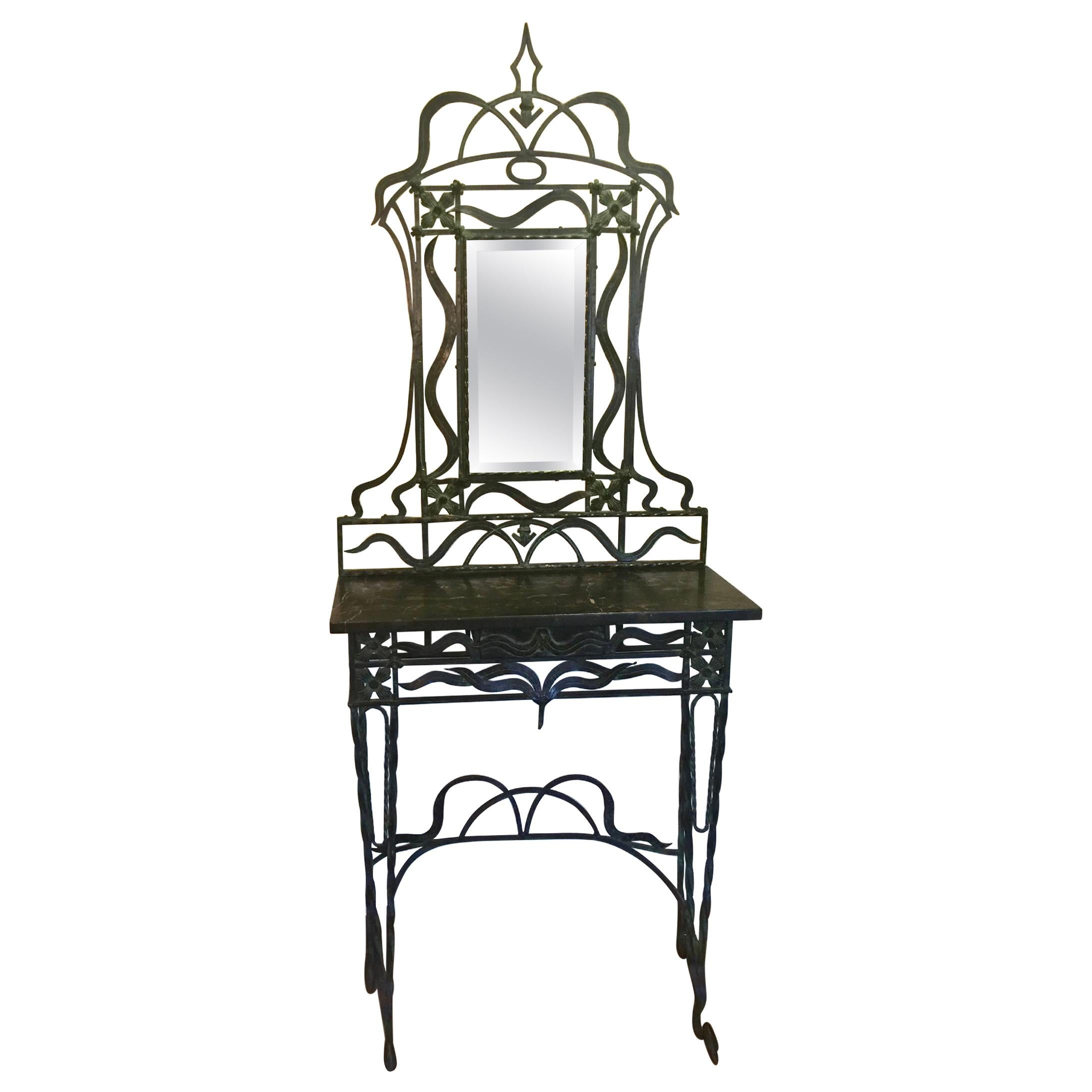 Early 20th Century Handwrought Iron Mirrored Console Table