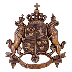 Early 20th Century Heraldic Carved Coat of Arms
