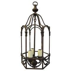 Early 20th Century Hexagonal Bronze Three-Light Hall Lantern
