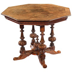 Early 20th Century Hexagonal Walnut Centre Table