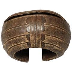 Early 20th Century Hollow Fine Cast Bronze Baule Bracelet Classic Sculpture Form