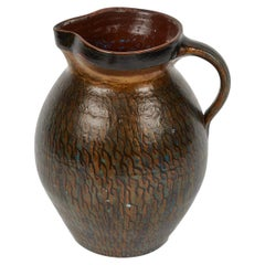Early 20th Century Hurlington Ware Pitcher with Teal and Bronze Painted Detail