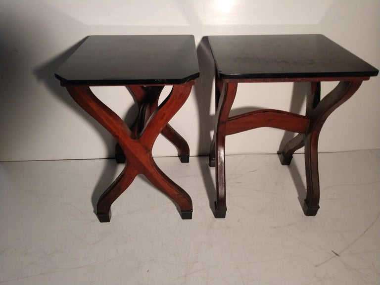 Early 20th Century Ice Cream Parlor Tables with Original Black Glass Tops For Sale 6