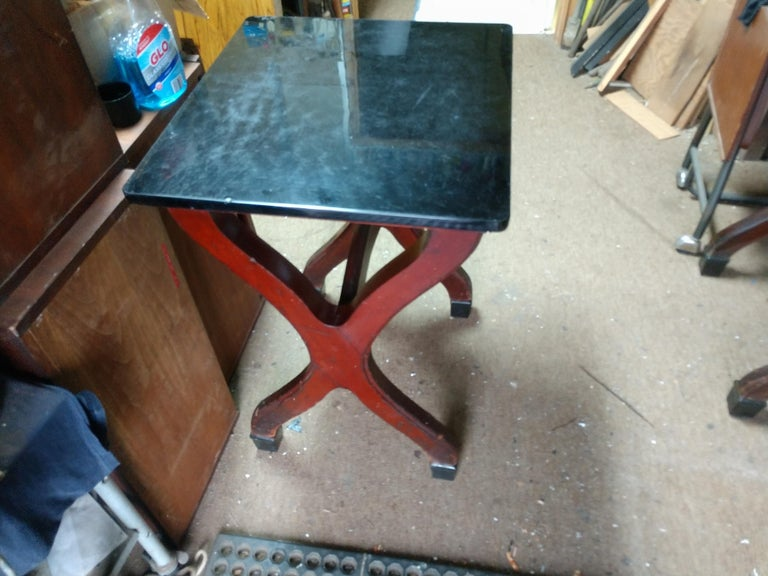Early 20th Century Ice Cream Parlor Tables with Original Black Glass Tops For Sale 8