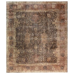 Early 20th Century Indian Chocolate Brown Handmade Wool Carpet
